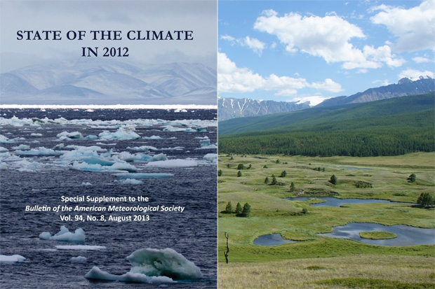 Wrangel Island, Chukchi Sea, in the early morning (left). Trees take hold as permafrost thaws near the Altai Mountains in Russia (right). These photos are from the covers of the 2012 State of the Climate Report, edited by scientists from NOAA's National Climatic Data Center and published in the Bulletin of the American Meteorological Society. Photo: Kate Stafford and Sergey Kirpotin / Tomsk State University / Terry Callaghan / EU-Interact