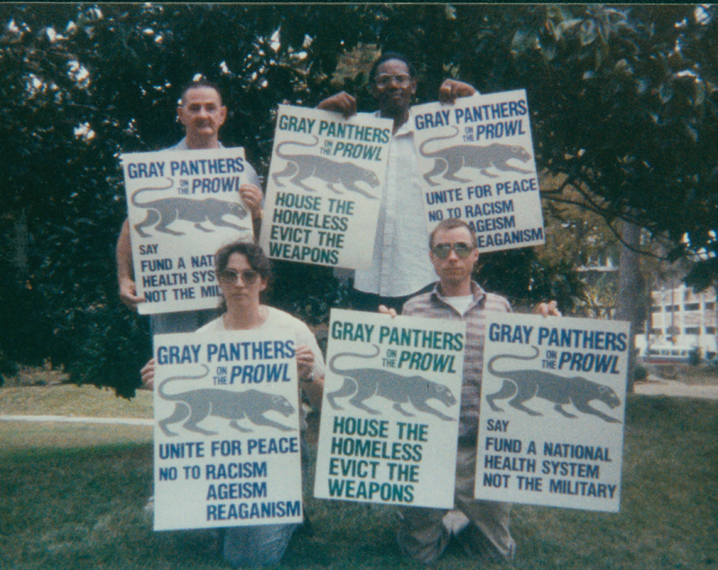 Edgar Sandifer and three others with Gray Panther signs. 1989.