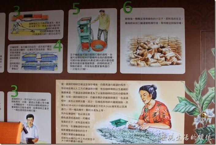 台南-台灣咖啡文化館。。咖啡製作程序(續)說明。