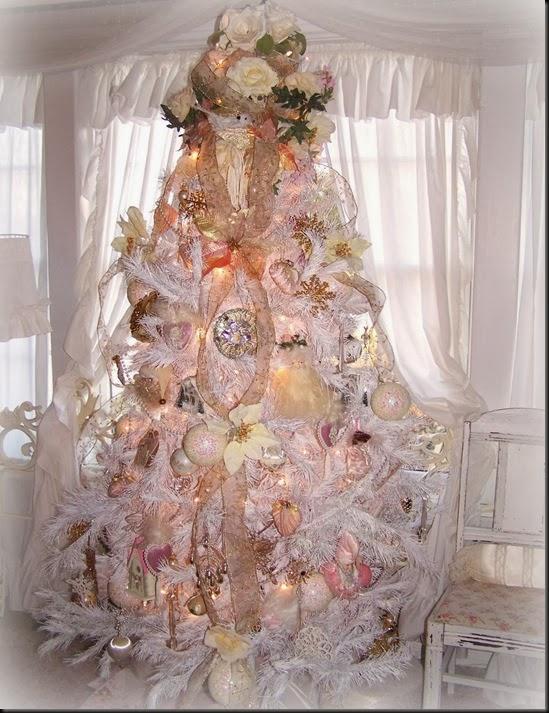 Shabby chic white christmas tree