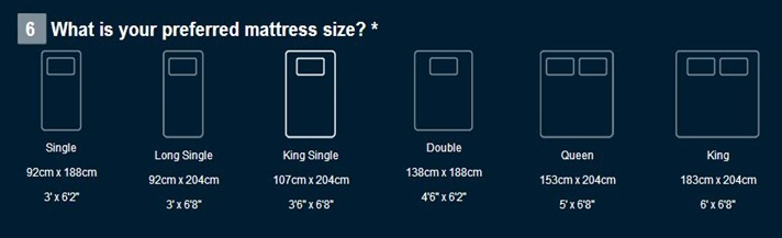 SleepMaker - Bed Size Guide