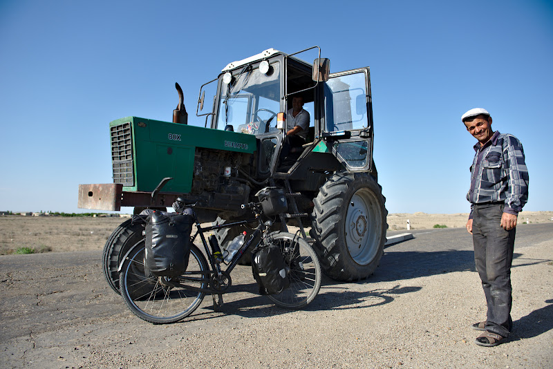 The 3 wheeled tractor, always popular in Uzbekistan.