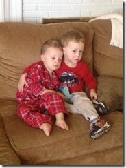 John and Nathan on couch