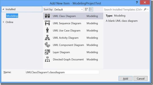Diagrammtypen in VS 2012 UML-Modellierungsprojekten
