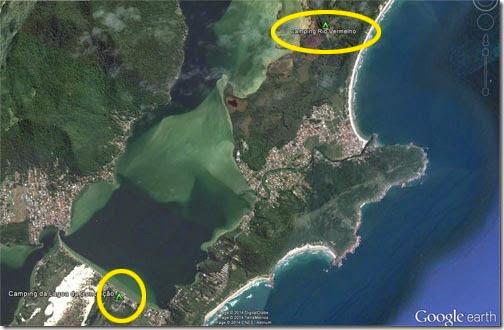 Vista aérea da distância entre o C Lagoa da Conceição e o C Rio Vermelho