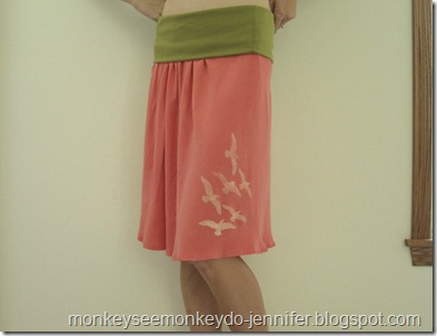 updated yoga skirt with freezer paper stenciled birds (11)