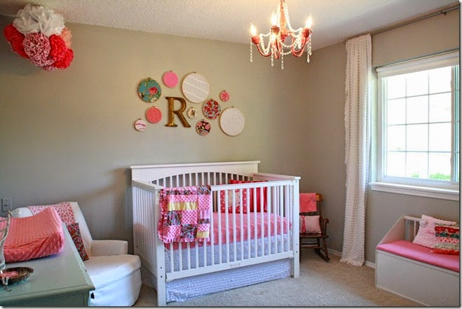baby-nursery-cute-girl-nursery-room-design-ideas-with-rectangular-white-wood-baby-bedding-along-with-pink-patchwork-crib-bedding-and-plate-for-bedroom-wall-decoration-fabulous-design-for-girl-nursery