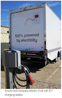 illustration from a Servidyne case study shows ClipperCreek charger and 'snack food company' electric truck