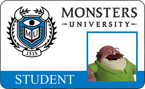Don Carlton's Monsters University Student Identification Card