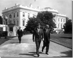 President Kennedy and Vice President Johnson, White House South Lawn