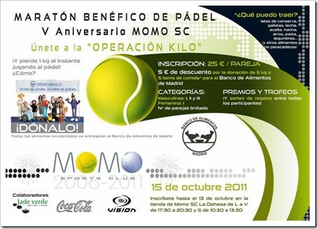 Maratón Benéfico de Pádel 5º Aniversario MOMO SPORTS CLUB el 15 de octubre en Alcalá Henares.