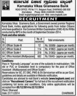 KVGB Recruitment 2014 – 1126 Officer & Assistant Posts