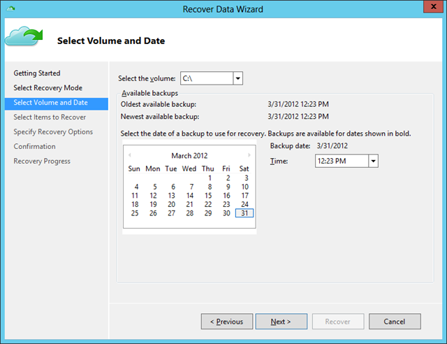 Recover Data Wiz - Volume and Date