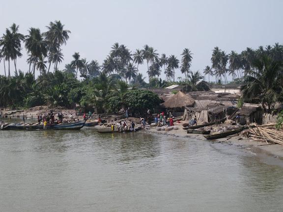 L'Atlantique au sud d'Ankasa : Kikam, vue depuis le pont routier. Ghana, 24 décembre 2009. Photo : Henrik Bloch