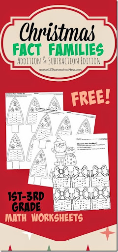 math worksheet : christmas fact families  addition and subtraction : Christmas Addition And Subtraction Worksheets