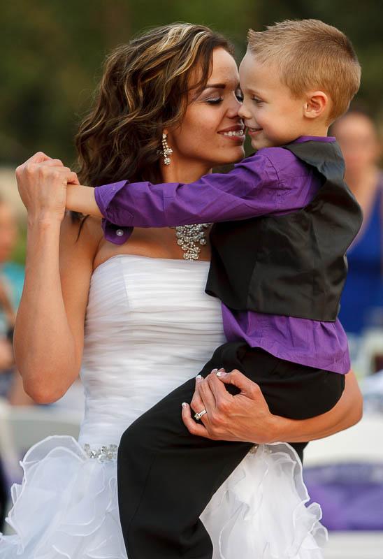 Jen Comer dances with her son, T.J., at her wedding reception in Hunstville.
