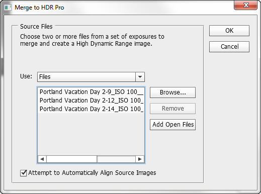 Adobe Photoshop CS6 Merge to HDR Pro Dialog
