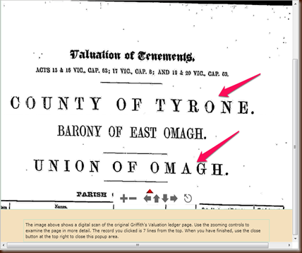 Griffith's Valuation Tyrone Union of Omagh 1864