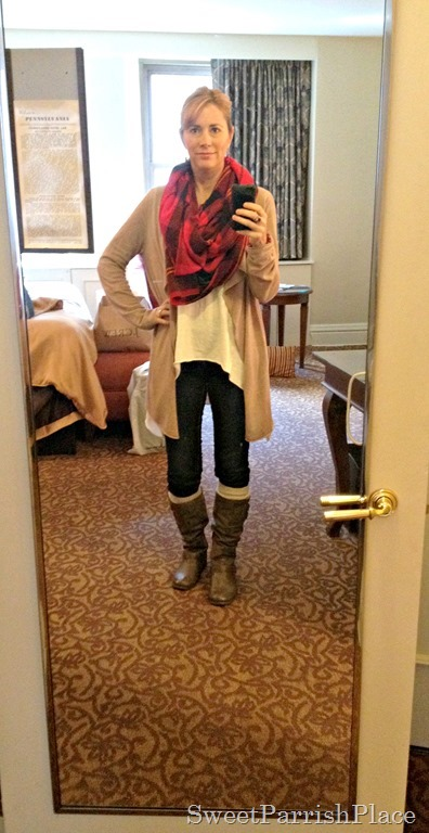 denim leggings, boots, boot socks, and plaid scarf