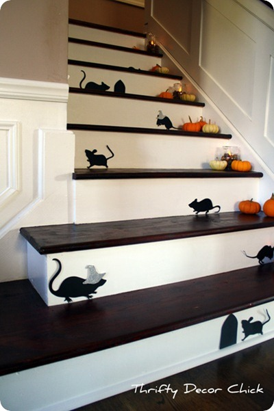 cut out mice on stairs