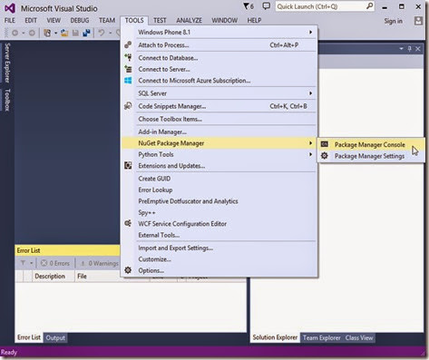 NuGet Package Manager added to TOOLS menu