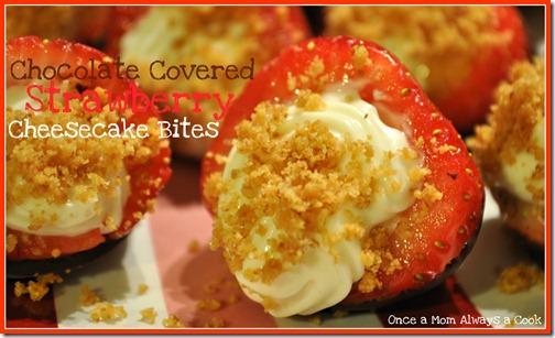 Chocolate Covered Strawberry Chessecake Bites