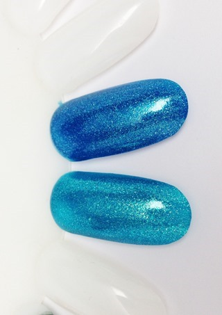 OPI The Sky's The Limit (top) vs Catch Me In Your Net (bottom)
