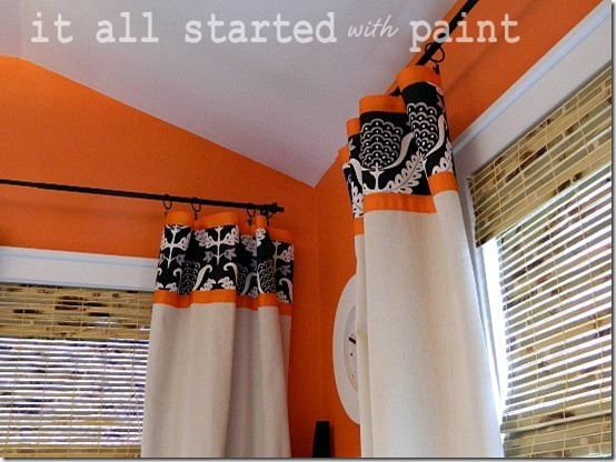 Teen Room orange black white drop cloth drapes
