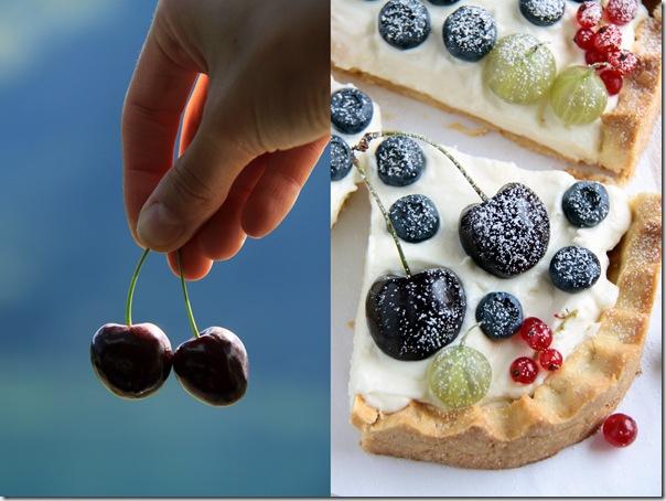 kwadratwa tarta z bitą śmietaną , mascarpone i owocami