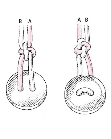 Using tweezers, gently tug up on knot where indicated above and slide knot so it's about 1 1/2 inches from the button. (The back of the knot will resemble the one far left; the front will resemble far right.) Use tweezers to tighten knot. Pin it to foam board, and secure. Continue adding evenly spaced knots.