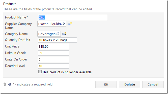'Discontinued' check box data field with a custom Header Text