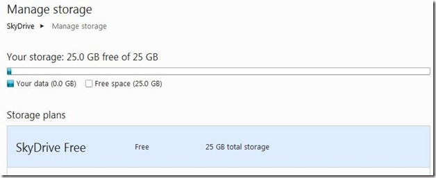 SkyDrive 25 GB