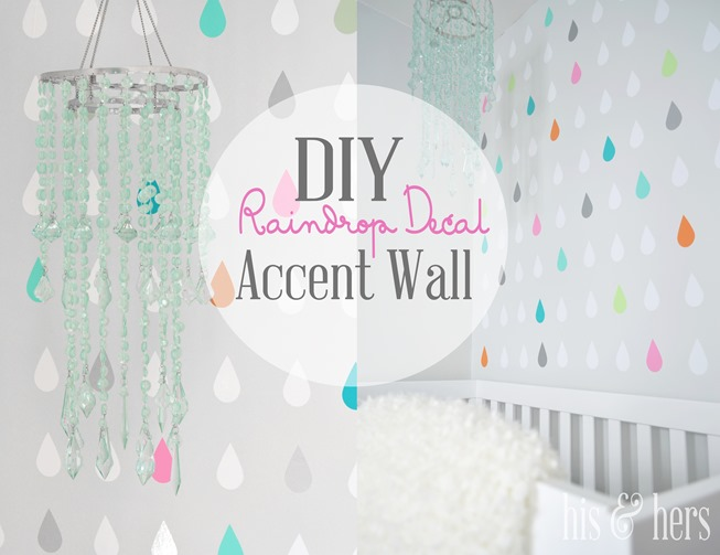 DIY raindrop decal accent wall