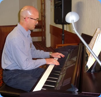 Warren Levick playing the Clavinova CVP-509. This was Warren's birthday too so a very special occasion! Photo courtesy of Dennis Lyons.