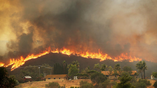 Raging fire threatens structures in San Marcos, California, as the wind picks up Thursday afternoon, 15 May 2014. Photo: Luis Sinco / Los Angeles Times