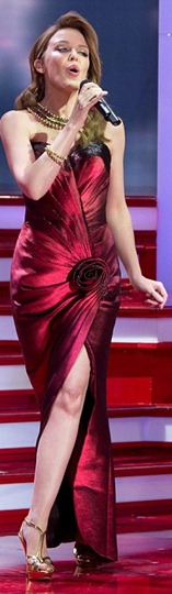 Kylie Minogue stunning red gown