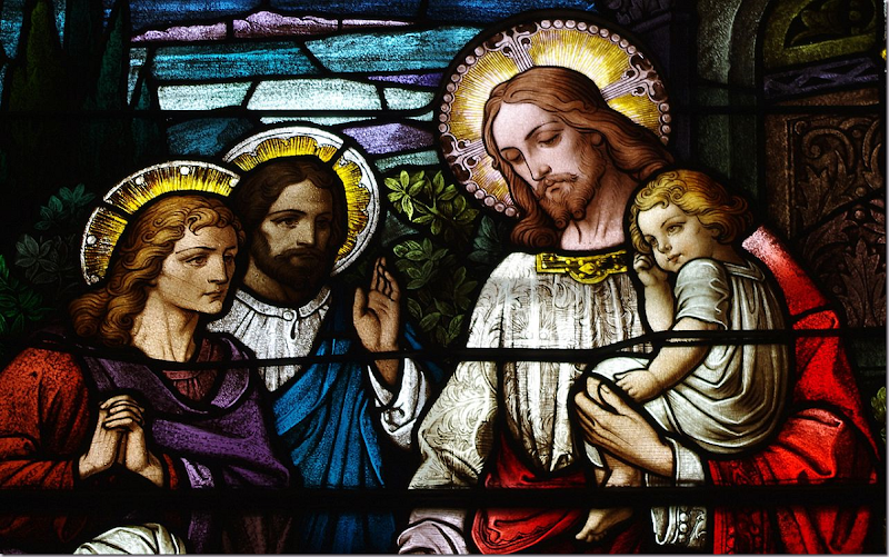 Image ~ Stained Glass Window ~ Let the Children Come to Me ~ Saint Bernard Church (Burkettsville, OH) ~ Clerestory