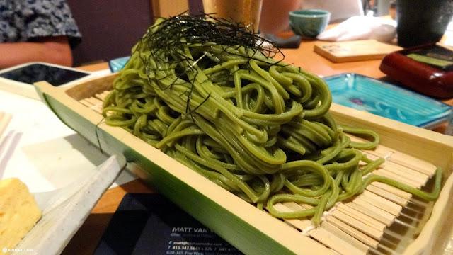 cold green-tea soba noodles in Tokyo, Tokyo, Japan