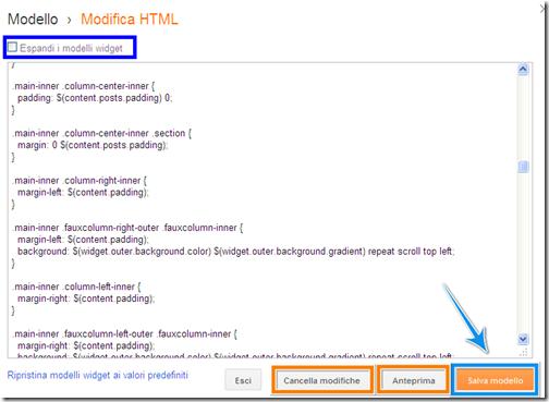 come inserire modifiche codice stringhe html blog blogspot