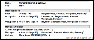 Individual Summary for Gerhard Heinrich Beerman