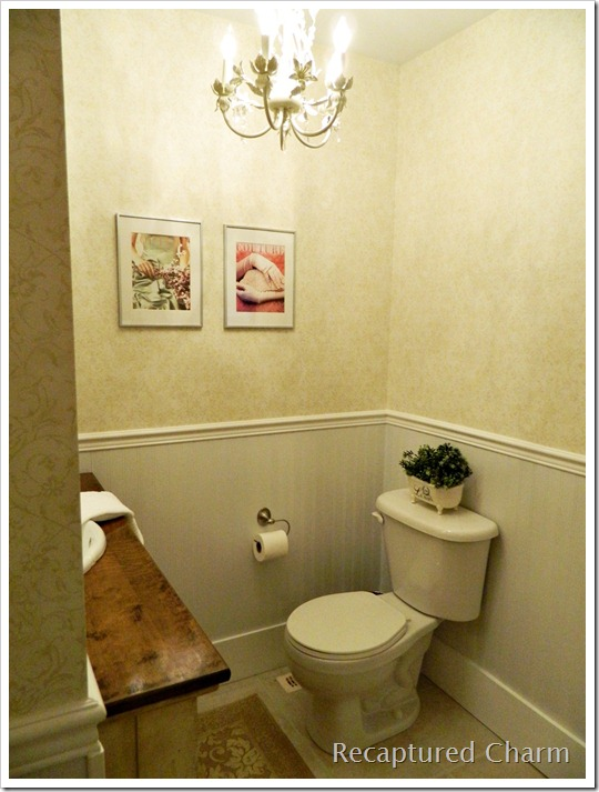 Small Powder Room With Black Wall