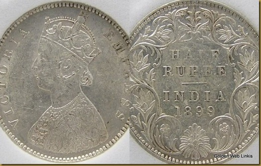 India 1/2 Rupee British Colonial Silver Coin. 1899-B UNC. Queen Victoria