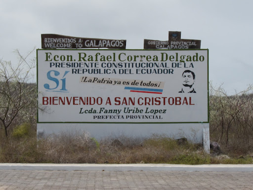 President Correa's welcome sign to the Galapagos