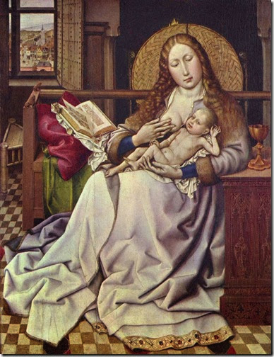 Virgin and Child before a Firescreen - Robert Campin - 1430