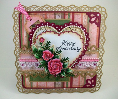 Pink Hearts Roses Anniversary Card