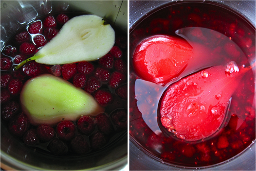 raspberry poached pears bis