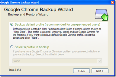 Google Chrome Backup Backup default profile