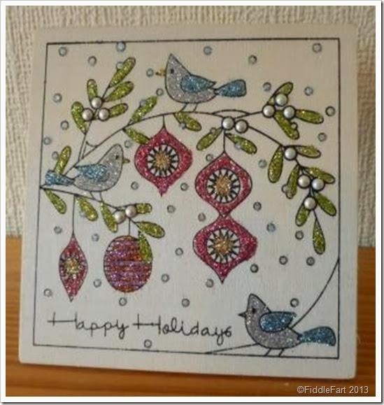 Glittered Wooden Christmas Card.  Hobbycraft