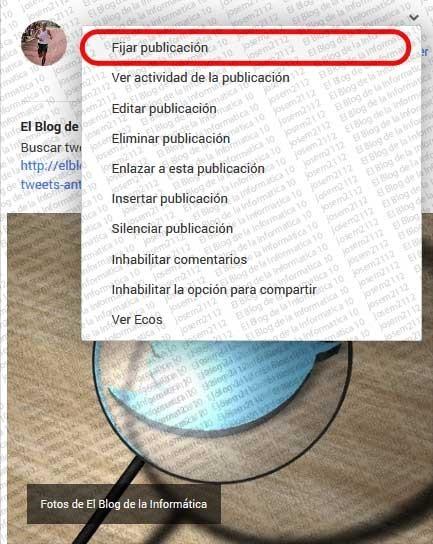 Fijar publicaciones en Google Plus - opción Fijar publicación