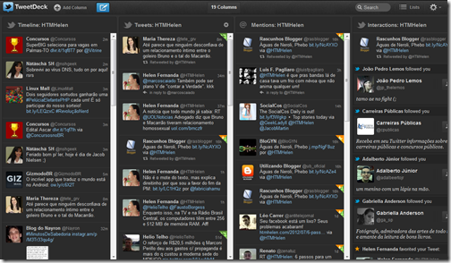 Visão geral do TweetDeck